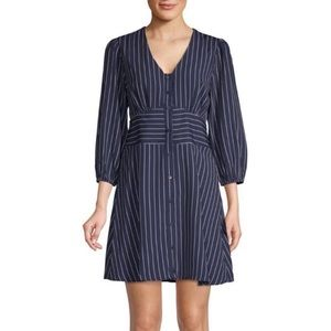 19 Cooper Navy Striped Dress Retro Pinup Buttoned